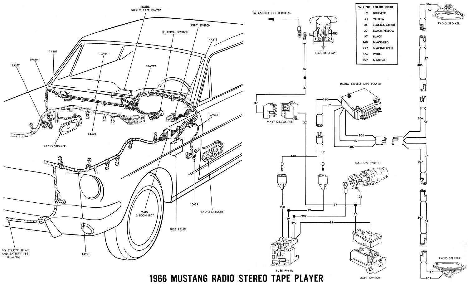 Wiring Schematics For 1965 Mustang 34 Diagram Images Ford Galaxie Schematic Vintage Diagrams 66stereo At